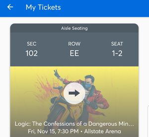 Logic Confessions of a Dangerous Mind tour. 11/15 for Sale in Chicago, IL