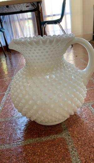 Antique 1930s Hobnail Depression Milk Glass Pitcher for Sale in South Pasadena, CA