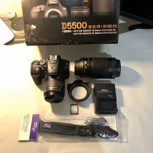 Mint-condition Nikon D5500 DSLR dual lens kit (includes wrist strap) for Sale in Miami, FL
