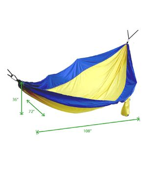"""Mind Reader Camping Hammock with Ropes, Carabiners, and Carrying Case for Camping, Travel, Beach, Backyard, 96"""" L x 50"""" W for Sale in Tempe, AZ"""