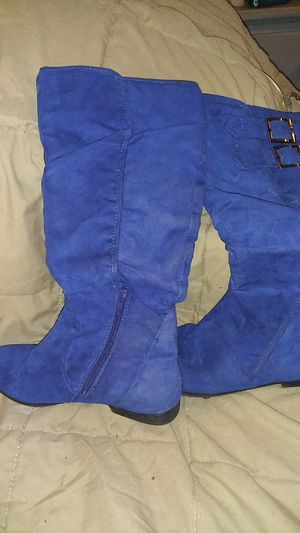 Faux sued blue knee high boots for Sale in Tampa, FL