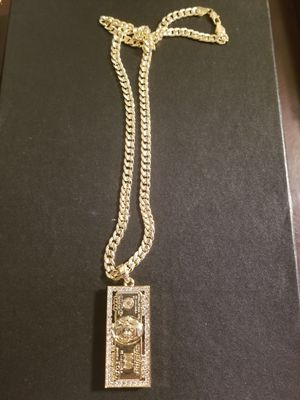 14k gold filled Benjamin Franklin 100$ bill Pendant, on Cuban chain. for Sale in Middletown, CT