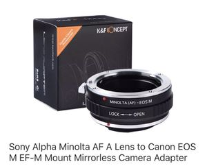 Sony alpha Minolta AF A lens to canon eos M EF mount camera adapter for Sale in Santa Ana, CA