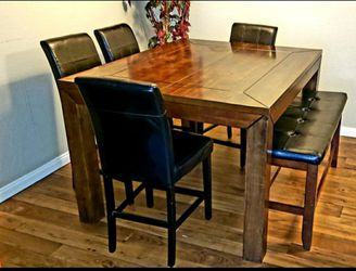 Solid Wood Dining Table With Bench & Chairs for Sale in Las Vegas,  NV