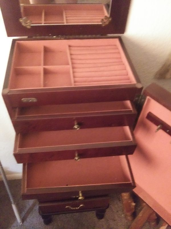 39 inch tall stylish jewelry box six draws storage necklace and ring compartments