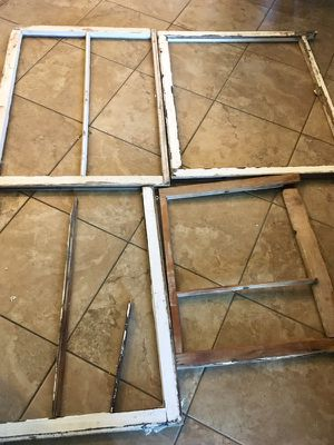 Lot of four old antique vintage wood window frames with chipped paint no glass perfect shabby condition. They measure from 3 1/2 feet to 2 1/2 feet for Sale in Phoenix, AZ