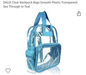 Dalia Clear Backpack Smooth Plastic Transparent See Through in Teal $5obo for Sale in Riverside, CA