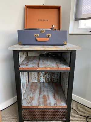 Crosley suitcase record player and distressed record stand for Sale in Seattle, WA