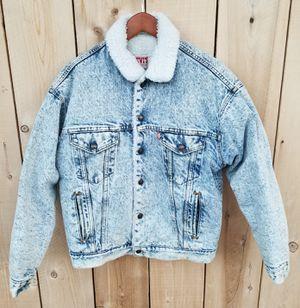 ($65) Vintage Levi's Acid Wash Sherpa Lined Denim Jacket (MENS MEDIUM) for Sale in Stockton, CA