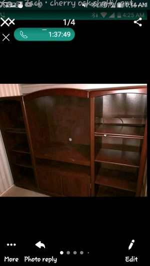 Large heavy-duty entertainment Center. Cherrywood possibly? Not sureLarge heavy-duty entertainment Center. Cherrywood possibly? Not sure for Sale in Wylie, TX