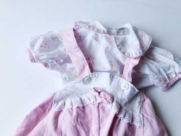 Vintage 1980s Pink Rabbit Overalls Blouse 6-9 Months Kids Children's