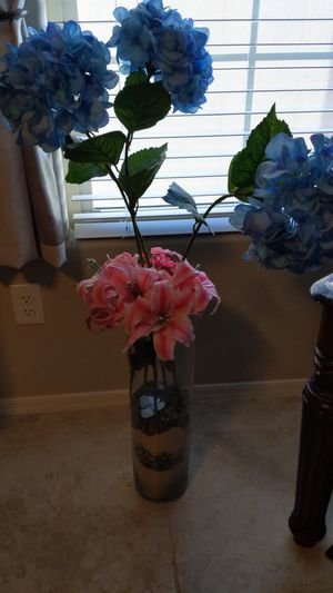 Tall glass vase with flowers and 2 pineapple candle stands for Sale in Goodyear, AZ