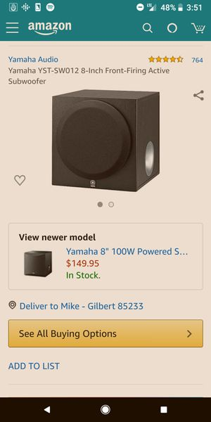 Yamaha 8 inch active subwoofer - Excellent condition for Sale in Gilbert, AZ