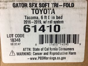 Gator SFX SOFT TRI-FOLD Toyota Tacoma 2016-2019 Truck Bed Cover, 6' w/Rail System for Sale in Portland, OR