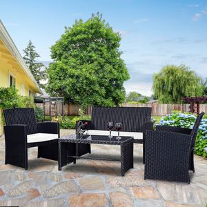 BRAND NEW 4 Pc Rattan Patio Set Outdoor Furniture Cushions Sofa Black for Sale in Sacramento, CA