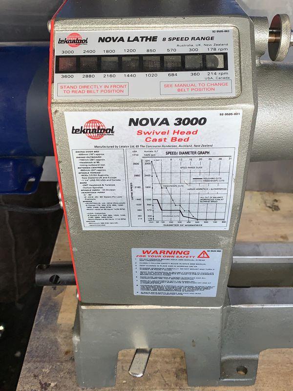 "NEW- Teknatool NOVA 3000 Wood Lathe w/ ""UPGRADES"""