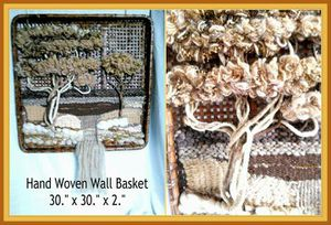 Gorgeous Vintage Tobacco Flat Basket with Hand Woven Tapestry Scene for Sale in Poway, CA