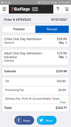 Six flags tickets for Sale in Killeen,  TX