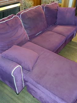 Purple Chase Lounge Couch With White Piping for Sale in Placentia,  CA