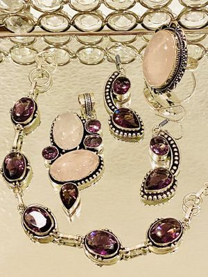 New stunning 925 sterling silver overlay handcrafted rose quartz and amethyst 4pcs set for Sale in Camarillo, CA