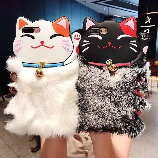 Lovely Warm Lucky Cat Rabbit Fur Phone Case For iPhone X 6 6S Plus 7 7Plus 8 Plus Cute Lucky Cat Furry Soft TPU hair Back Cover