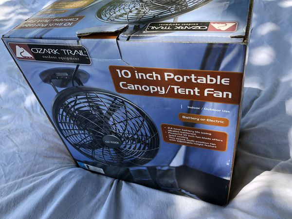 Preowned camping tent with tent fan, 20x10, sleeps 8