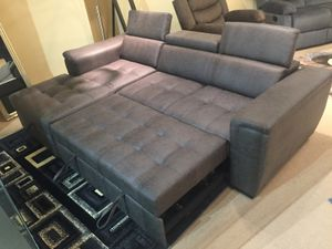 Air Leather Sectional Sofa with Pull Out Bed and Adjustable Headrest, Grey for Sale in Downey, CA