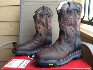 NEW MEN'S JUSTIN ORIGINAL JUSTIN SQUARE TOE LEATHER WATERPROOF WORK BOOTS Sz 9D for Sale in The Colony, TX
