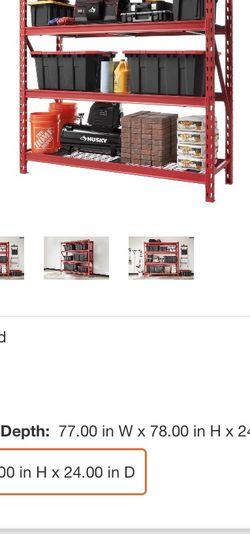 Husky Red 4-Tier Heavy Duty Industrial Welded Steel Garage Shelving Unit (77 in. W x 78 in. H x 24 in. D) for Sale in East Orange,  NJ