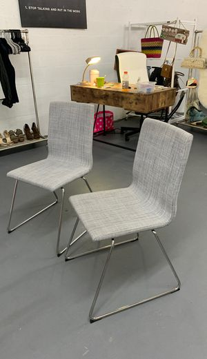 2 Chrome Plated Grey Chairs for Sale in Miami, FL