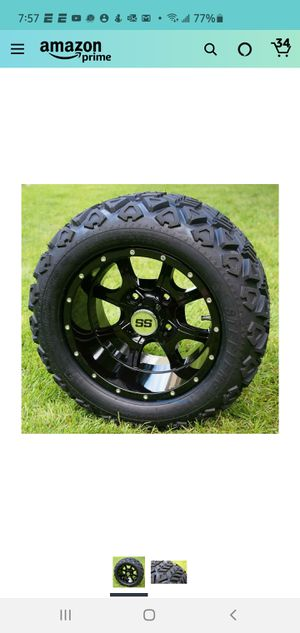 """12"""" STALKER Gloss Black Golf Cart Wheels and 20x10-12 DOT All Terrain Golf Cart Tires - Set of 4 - NO LIFT REQUIRED for Sale in Charlotte, NC"""