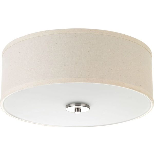 Inspire Collection 13in. 2-Light Brushed Nickel Flushmount with Off-White Linen Shade
