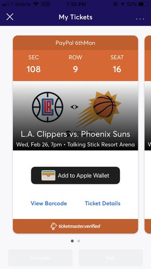 Clippers vs suns tickets for Sale in Peoria, AZ