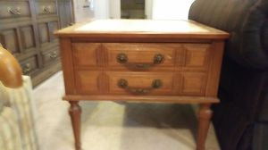 (2) Marble Top Solid Wood End Tables W/ Drawer for Sale in Alexandria, LA