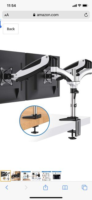 HUANUO Dual Arm Monitor Stand - Height Adjustable Gas Spring Desk VESA Mount for Two 15 to 27 Inch Computer Screen with 2 in 1 Mounting Base for Sale in Palmdale, CA