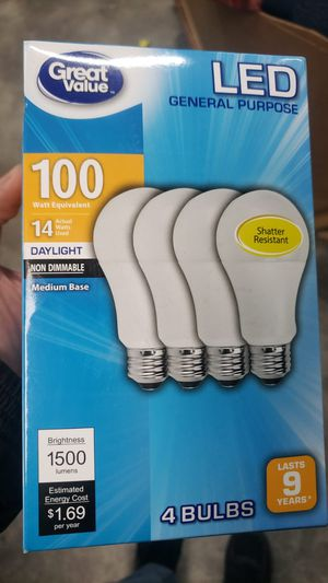 Great Value LED Light Bulb, 14 Watts (100W Equivalent) A19 General Purpose Lamp E26 Medium Base, Non-dimmable, Daylight, 4-Pack for Sale in Houston, TX
