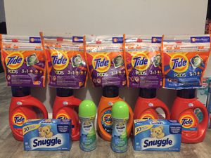 $50 tide bundle 5bottles liquid is 25loads each 5bags pods is 16counts each 2beads is 255g 2dyer sheets is 80counts each pick up Gahanna for Sale in Columbus, OH
