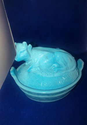 Blue milk glass Cow candy dish for Sale in Norwalk, CA