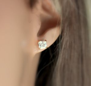 2CT Lab Grown Diamond High Quality Solitaire earring VVS1 Clarity Princess cut 14K gold for Sale in Los Angeles, CA