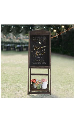 Rose home fashions rustic wedding decorations A-frame easel chalkboard sign with display shelf, vintage large chalkboard easel, freestanding easel me for Sale in San Dimas, CA