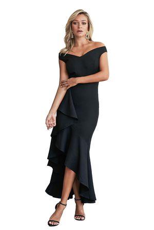 Black Evening Dress Mermaid V Back Long Ruffle Small 6 Shoulder Wedding for Sale in Arcadia, CA