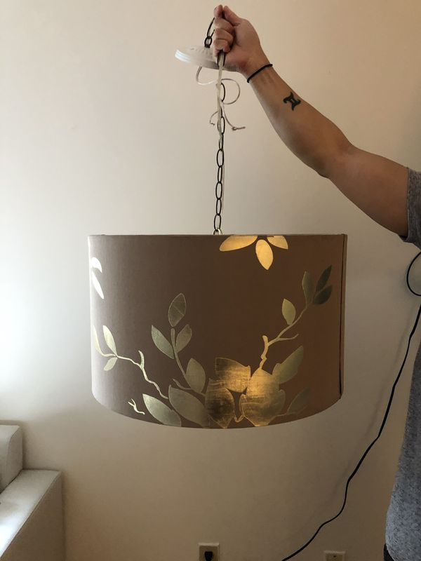 Taupe and gold metallic floral ceiling light fixture