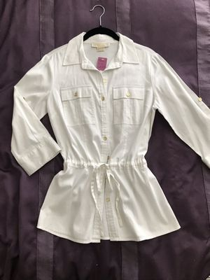 Michael Kors Blouse Top Shirt, White Button Down, Drawstring Cinched Waist, Size 2 for Sale in Margate, FL