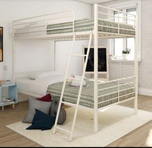 Metal white twin bunk bed for Sale in Glendale, AZ