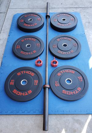 BUMPER PLATES WITH OLYMPIC BARBELL for Sale in Riverside, CA