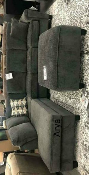 Dgm^💥Abinger Smoke RAF-LAF Sectional with ottoman byAshley for Sale in Columbia, MD