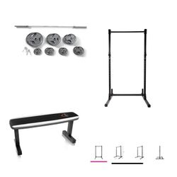 Home Gym Olympic Weights 300lbs Total Squat Rack & Flat Weight Bench All New for Sale in Happy Valley,  OR