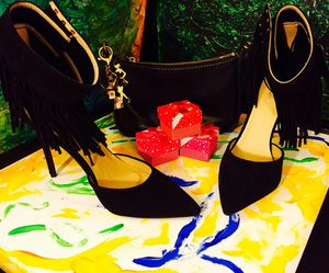 New fringe layer heeled black suede for Sale in Brockton, MA