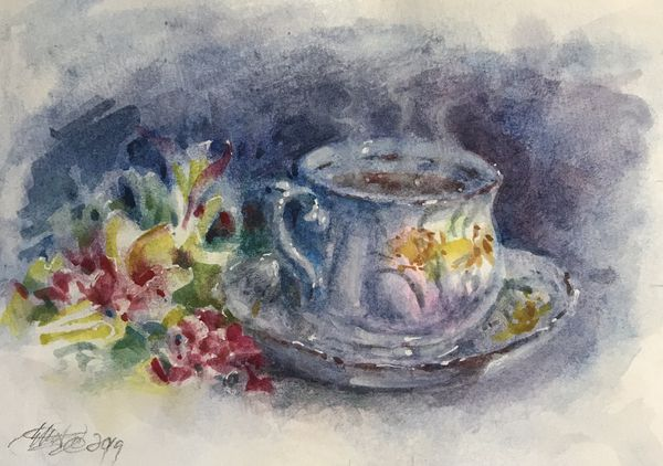 Original painting teacup flowers artwork direct from artist