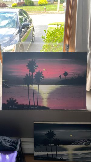 ORIGINAL ARTWORK FROM JAMAICA TROPICAL PALM TREE BEACH PAINTING BY TED WILLIAMS for Sale in Warwick, RI